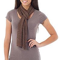 Alpaca blend scarf, 'Cocoa Trends' - Handmade Alpaca Knit Wool Scarf