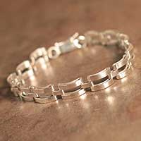 Men's silver bracelet, 'Emperor' - Men's Fine Silver Link Bracelet