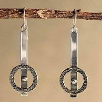 Silver dangle earrings, 'Aesthetic Equilibrium' - Silver dangle earrings