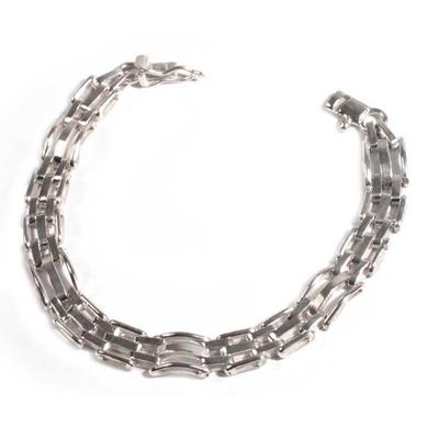Men's silver bracelet, 'Executive' - Men's Handmade Fine Silver Link Bracelet