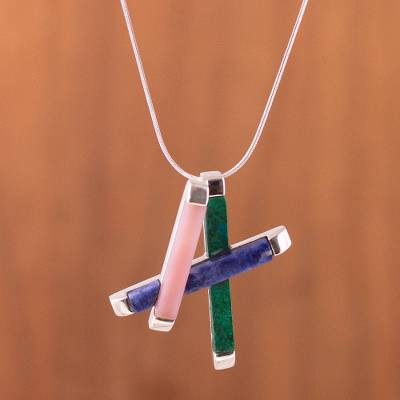 Chrysocolla and sodalite pendant necklace, 'Just Play' - Rose Quartz and Sodalite Pendant Necklace