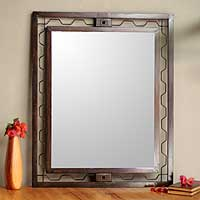 Mirror, 'Urban Reflections' - Fair Trade Hand Crafted Metal Art Steel Wall Mirror