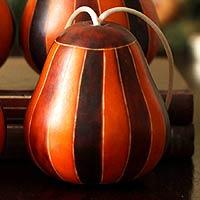 Mate gourd ornaments, 'Harlequin' (set of 4) (Peru)