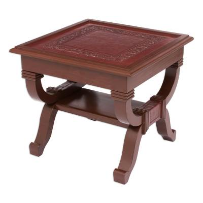 Mohena wood and leather accent table, 'Fern Garland' - Peruvian Contemporary Leather Wood Accent Table