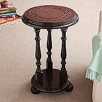 Mohena wood and leather accent table, 'Pedestal' - Traditional Leather Pedestal Wood Accent Table