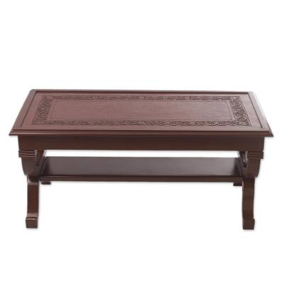 Mohena wood and leather coffee table, 'Fern Garland' - Hand Crafted Contemporary Wood Leather Coffee Table