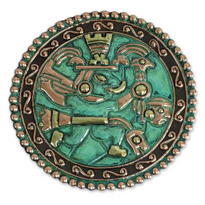 Artisan Crafted Archaeological Bronze and Copper Decorative Plate
