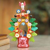 Ceramic sculpture, 'Sweet Nativity' - Fair Trade Christmas Ceramic Bird Sculpture