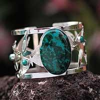 Chrysocolla cuff bracelet, 'Spring Butterflies' - Sterling Silver Cuff Chrysocolla Bracelet from Peru