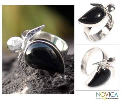 Obsidian and Silver Cocktail Ring