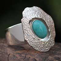 Amazonite cocktail ring, 'Abstractions' - Modern Sterling Silver and Amazonite Ring