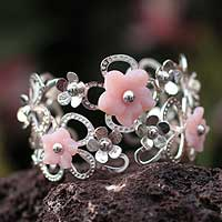 Rose quartz flower cuff bracelet, 'Love Bouquet' - Rose quartz flower cuff bracelet