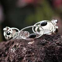 Obsidian cuff bracelet,