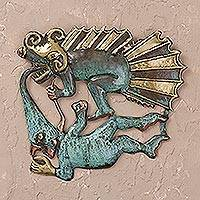 Bronze and copper wall art, 'Demon and Dragon' - Bronze and copper wall art