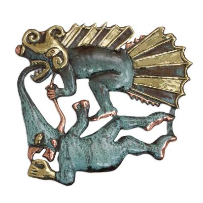 Handcrafted Dragon and Demon Bronze and Copper Wall Sculpture