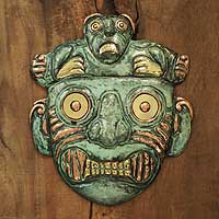 Bronze and copper mask, 'Chavin Personage' - Hand Made Archaeological Bronze Copper Mask