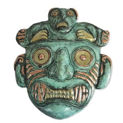 Hand Made Archaeological Bronze Copper Mask