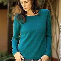 100% alpaca sweater, 'Teal Charm' - Peruvian Alpaca Wool Pullover Sweater