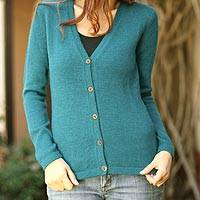 100% alpaca sweater, 'Turquoise Sea' - 100% Alpaca Wool Cardigan for Women