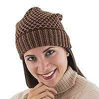 Alpaca blend hat, 'Cinnamon Honeycomb' - Alpaca Wool Hat