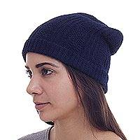 Alpaca blend hat, 'Navy Glam' - Collectible Alpaca Wool Hat
