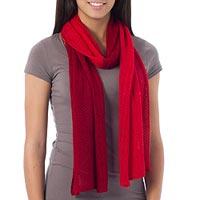 Alpaca blend scarf, 'Bold Red' - Unique Alpaca Wool Scarf from Peru