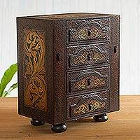 Cedar jewelry box, 'Royal Heritage' - Hand Painted Cedar Jewelry Box from Peru