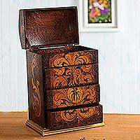Cedar jewelry box, 'Love Blossom' - Hand Painted Wood Jewelry Box