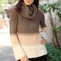 100% alpaca turtleneck sweater, 'Cuzco Winter' - 100% alpaca turtleneck sweater