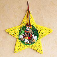 Applique Christmas star, 'Yellow Nativity Scene' - Peruvian Christianity Cotton Wall Hanging Christmas Star