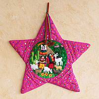 Applique Christmas wall hanging, 'Lilac Nativity Scene' - Unique Christmas Folk Art Wall Hanging