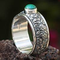 Chrysocolla spinner ring, 'Floral Spin' - Chrysocolla spinner ring