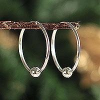 Silver hoop earrings,