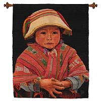 Wool and cotton tapestry, 'Cuzco Boy' - Hand Loomed Cultural Wool Tapestry