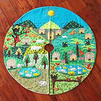 Applique tree skirt, 'Happy Jungle' - Applique tree skirt