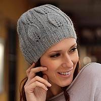 100% alpaca hat, 'Silver Leaves' - Alpaca Wool Solid Hat