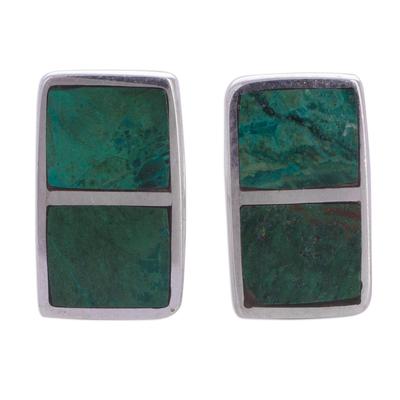 Chrysocolla button earrings