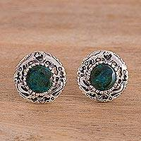 Chrysocolla button earrings, 'Sun God' - Fine Silver and Chrysocolla Button Earrings