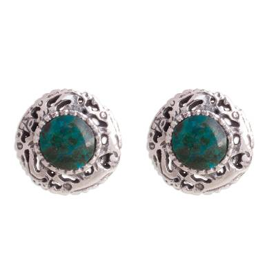 Fine Silver and Chrysocolla Button Earrings