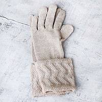 100% alpaca gloves, 'Winter Queen' - Artisan Crafted Alpaca Wool Gloves