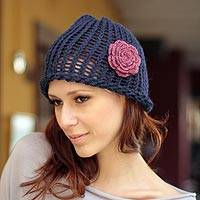 100% alpaca hat, 'Sapphire Rose' - 100% alpaca hat