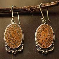 Sterling silver and mate gourd dangle earrings, 'Solemn Owl' - Mate Gourd 925 Sterling Silver Dangle Earrings
