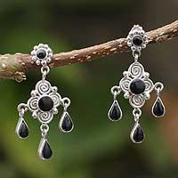 Obsidian chandelier earrings,