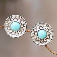 Amazonite clip-on earrings,