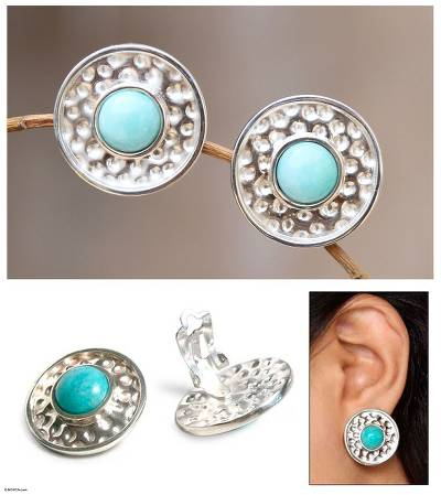 Amazonite clip-on earrings, 'Centered' - Amazonite clip-on earrings