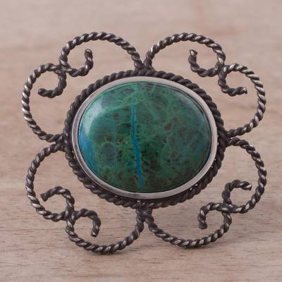 Chrysocolla brooch pin pendant, 'Sea of Tranquility' - Floral Sterling Silver Chrysocolla Brooch Pin