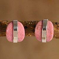 Rhodonite button earrings, 'Innovate' - Peruvian Silver and Rhodonite Button Earrings