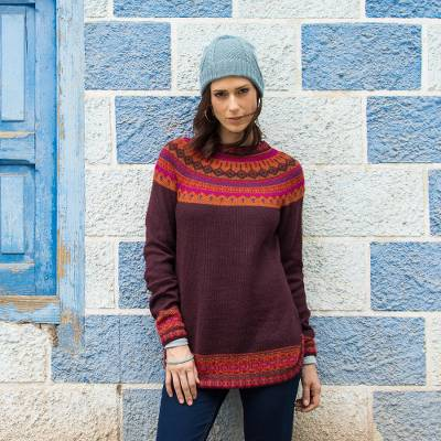 Art knit alpaca sweater, 'Playful Plum' - Women's Art Knit Alpaca Pullover Sweater from Peru