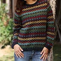 100% alpaca sweater, 'Spring Medley' - Fairtrade Alpaca Wool Striped Pullover Sweater