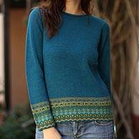 100% alpaca sweater, 'Inca Muse' - Hand Crafted Peruvian Alpaca Wool Sweater